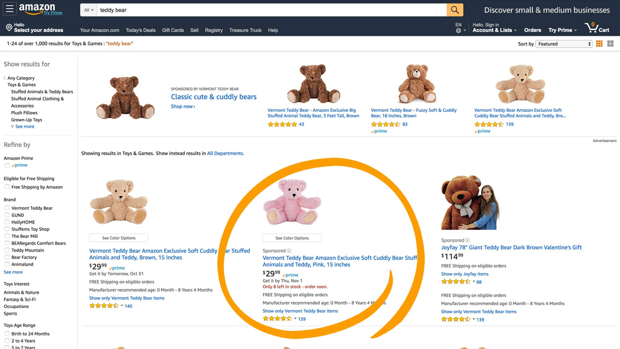 Amazon Sponsored Products Example
